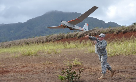 The U.S. Army has two rucksack-portable drones, including the hand-launched Puma shown here. The service is looking to procure a smaller, shorter range UAV as soon as next year.