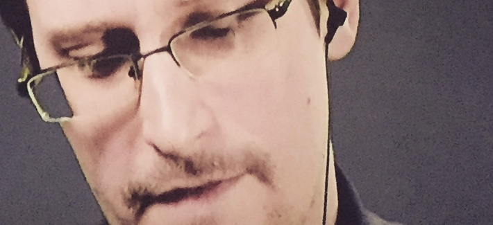 "Edward Snowden addresses an international audience remotely on the eve of the debut of ""Snowden,"" September, 2016."