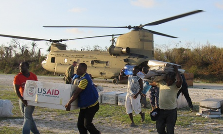 Service members from Joint Task Force Matthew and representatives from the United States Agency of International Development delivered relief supplies to areas afftcted by Hurricane Matthew to Jeremie, Haiti, Oct. 7, 2016.