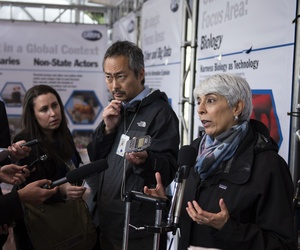 Defense Advanced Research Projects Agency Director Dr. Arati Prabhakar speaks with reporters during DARPA Demo Day 2016 at the Pentagon, May 11, 2016.