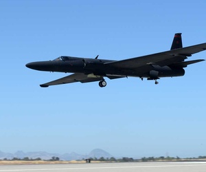 A U-2 Dragon Lady piloted by Maj. J.J., 1st Reconnaissance Squadron student pilot, prepares to land Aug. 31, 2016, at Beale Air Force Base in California.