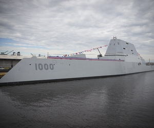 The future Zumwalt-class guided-missile destroyer USS Zumwalt (DDG 1000) is pierside at Canton Port Services in preparation for its upcoming commissioning on Oct. 15, 2016.