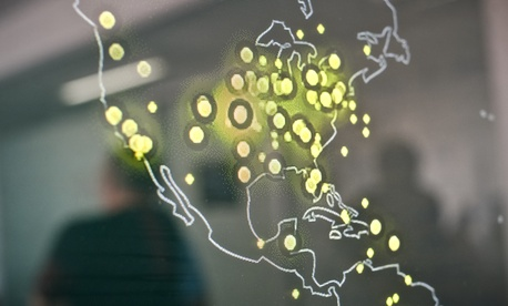 In this picture taken on March 5, 2015, a map of the United States displayed on a computer screen shows cyber attacks in real time at the headquarters of Bitdefender, a leading Romanian cyber security company, in Bucharest, Romania.