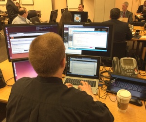 Mission control at Cyber Storm V in Washington, Tuesday, March 8, 2016.