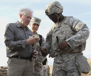 Frank Kendall,  undersecretary for acquisition, technology and logistics, examines equipment under evaluation by the U.S. Army.