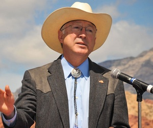 Ken Salazar speaks in Nevada in 2009.