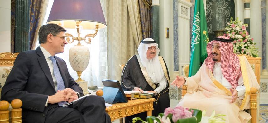 Saudi Arabian king Salman bin Abdulaziz Al Saud receives U.S. Treasury officials.