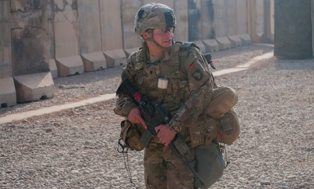 A U.S. Army medic during a coalition base response drill on Nov. 3 at the Qayyarah West Airfield, Iraq.
