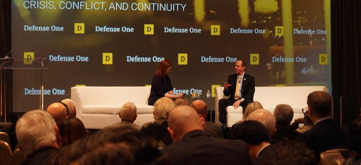 Rep. Adam Schiff, D-Calif. speaks with The Daily Beast's Kim Dozier at the Defense One Summit, November 17, 2016, in Washington.