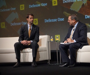 Sen. Tom Cotton, R-Arkansas, speaks with David Sanger of The New York Times at the Defense One Summit, November 17, 2016, in Washington.