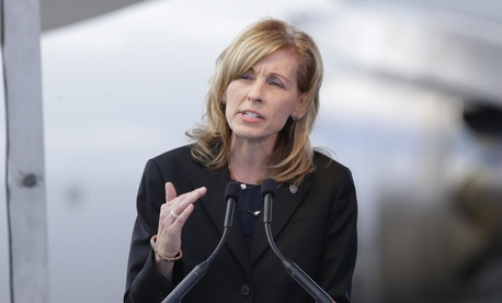 Leanne Caret, president and chief executive officer of Boeing Defense, Space & Security spoke in July at a ceremony marking the 100th Anniversary of the Boeing Co.