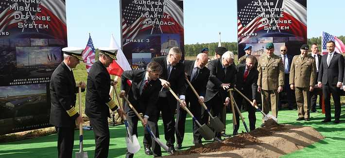 U.S. and Polish officials symbolically break ground for construction of the U.S.-led missile defense site in northern Poland in May.