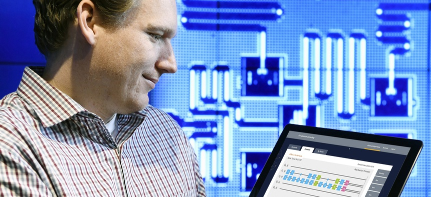 IBM Quantum Computing Scientist Jay Gambetta uses a tablet to interact with the IBM Quantum Experience, the world's first quantum computing platform delivered via the IBM Cloud at IBM's T. J. Watson Research Center in Yorktown, NY, on, May 4, 2016.