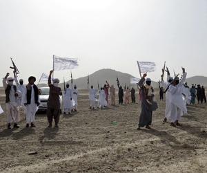 Fighters from a breakaway Taliban faction known as Mahaaz-e-Dadullah attend a gathering in the southern Zabul province, Afghanistan, on Aug. 15, 2016.