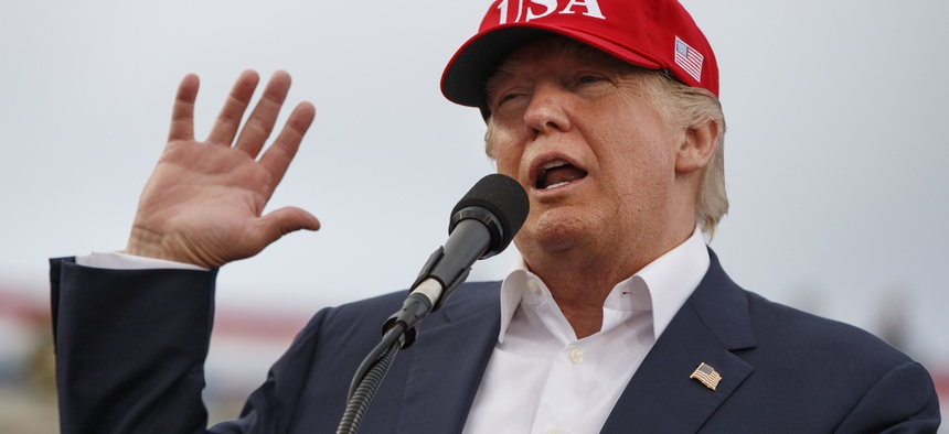 U.S. President-elect Donald Trump speaks during a rally at Ladd-Peebles Stadium in Mobile, Ala., Dec. 17, 2016.