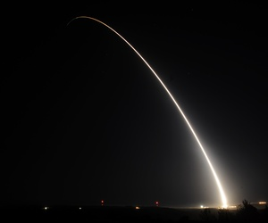 A team of Air Force Global Strike Command Airmen from the 90th Missile Wing at F.E. Warren Air Force Base, Wyo., launched an unarmed Minuteman III intercontinental ballistic missile equipped with a test re-entry vehicle from Vandenberg Air Force Base, CA.
