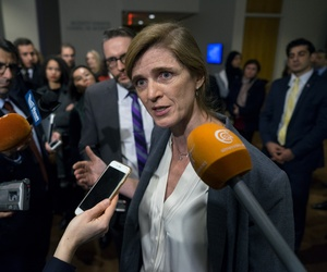 U.S. Ambassador to the U.N. Samantha Power speaks with reporters after exiting consultations with the United Nations Security Council at United Nations headquarters Sunday, Dec. 18, 2016.