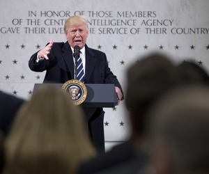 In this Jan. 21, 2017, photo, President Donald Trump speaks at the Central Intelligence Agency in Langley, Va.