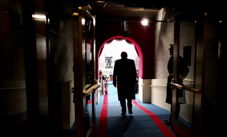 Donald J. Trump walks out to be sworn in as America's 45th President, January 20, 2017.