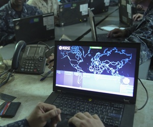 A Marine operates a network monitoring program at Marine Corps Air Station Miramar, Calif., Aug 22, 2016.