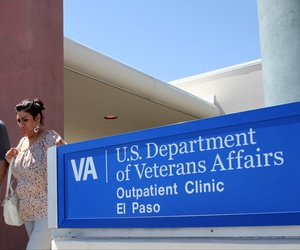 Patients exit the Vetarans Affairs facility in El Paso, Texas, June 9, 2014.