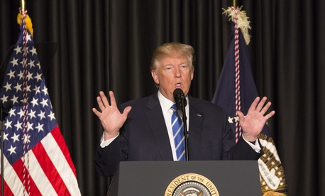 United States President Donald Trump makes remarks to the Major Cities Chiefs Association (MCCA) Winter Meeting at the JW Marriott Hotel in Washington, DC, February 8, 2017.
