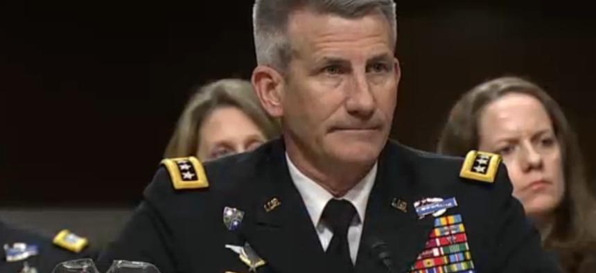 Gen. John Nicholson, U.S. commander of the war in Afghanistan, testifies at a Senate Armed Services Committee hearing, February 9, 2017.