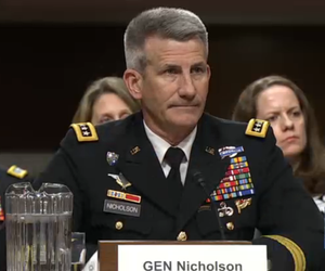 Gen. John Nicholson, U.S. commander of the war in Afghanistan, testifies at a Senate Armed Services Committee hearing, February 9, 2017.