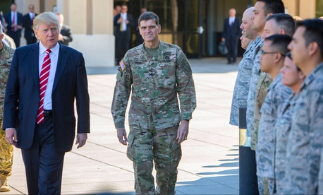 President Donald Trump, passing in review with Gen. Joseph Votel, U.S. Central Command, at MacDill Air Force Base, Fla., Feb. 6, 2017.