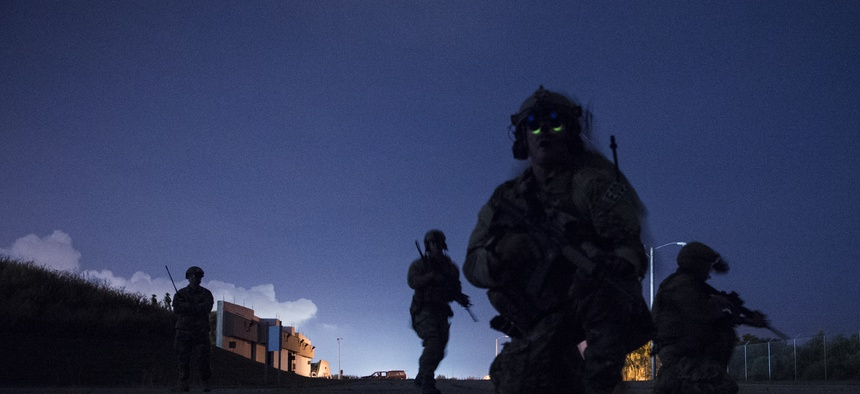 U.S. Army and Air Force special operators train at Naval Station Pascagoula, Miss., during Southern Strike 17, Oct. 26, 2016.