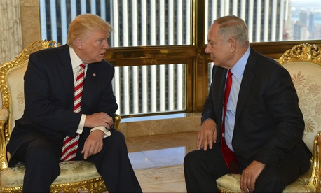 Donald Trump met with Israeli Prime Minister Benjamin Netanyahu while still a candidate for president in September, 2016.