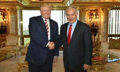 Then-presidential candidate Donald Trump shakes hand with Israeli Prime Minister Benjamin Netanyahu in New York, Sept. 25, 2016.