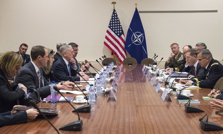 Secretary of Defense Jim Mattis meets with members of the U.S. mission at the NATO Headquarters in Brussels, Belgium, Feb. 15, 2017.