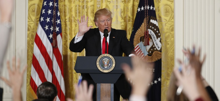 President Donald Trump speaks during a news conference, Thursday, Feb. 16, 2017, in the East Room of the White House in Washington.