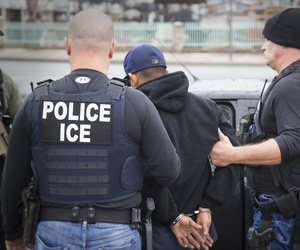 In this Tuesday, Feb. 7, 2017, photo released by U.S. Immigration and Customs Enforcement shows foreign nationals being arrested this week during a targeted enforcement operation conducted by U.S. Immigration and Customs Enforcement (ICE).
