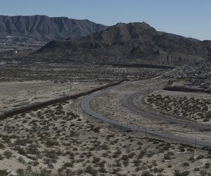 The Mexico-US border fence, is seen from the Mexican side, separating the towns of Anapra, Mexico and Sunland Park, New Mexico, Wednesday, Jan. 25, 2017.