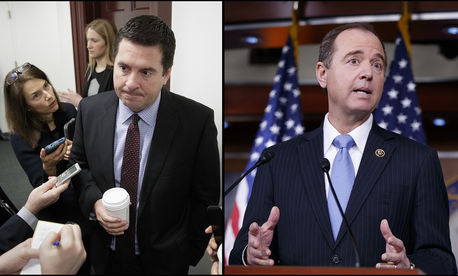 At left, House Intelligence Committee Chairman Rep. Devin Nunes, R-Calif.; right, Rep. Adam Schiff, D-Calif., ranking member of the House Intelligence Committee.