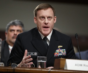 National Security Agency and Cyber Command chief Adm. Michael Rogers testifies on Capitol Hill in Washington, Thursday, Jan. 5, 2017, before the Senate Armed Services Committee hearing: