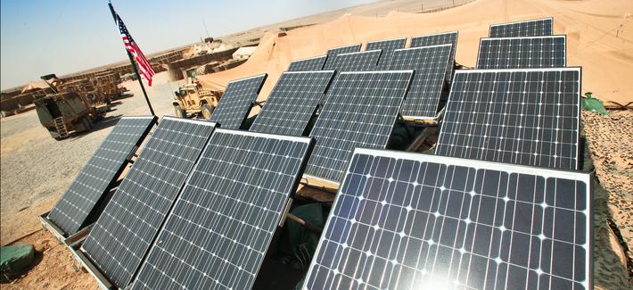 Solar panels sit atop HESCO barriers at Patrol Base Boldak, Helmand province, Afghanistan, in 2011.
