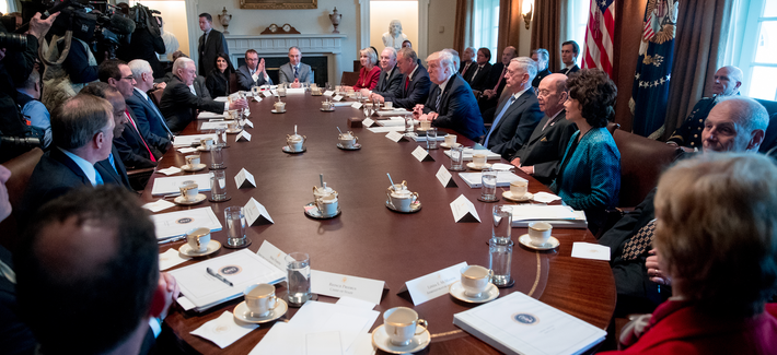 President Donald Trump meets with his Cabinet in the Cabinet Room of the White House in Washington, Monday, March 13, 2017.