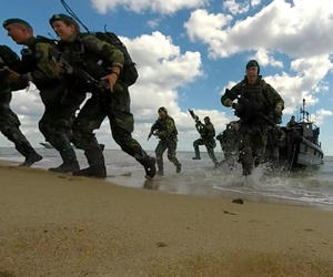 NATO Response Force and Allied Marines from the U.K., U.S., Sweden, and Finland simulate amphibious assaults on a Swedish beachhead during BALTOPS 2015.