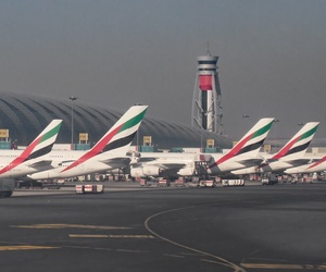 Flights coming from Dubai International Airport, pictured here, are included in the electronic device ban.
