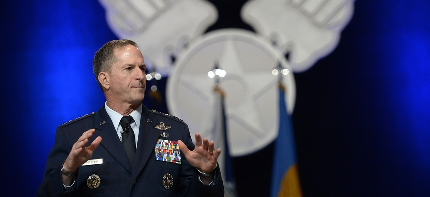 """Air Force Chief of Staff Gen. Dave Goldfein gives his first """"Air Force Update,"""" during the Air Force Association's Air, Space and Cyber Conference in National Harbor, Md., Sept. 20, 2016."""