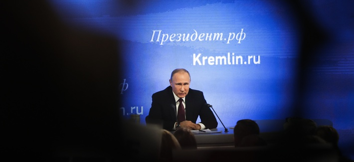 Russian President Vladimir Putin speaks during his annual news conference in Moscow, Russia, Friday, Dec. 23, 2016.