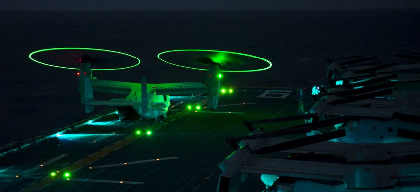 An MV-22B Osprey takes off aboard the amphibious assault ship USS Bonhomme Richard (LHD 6) in the Philippine Sea, March 10, 2017.