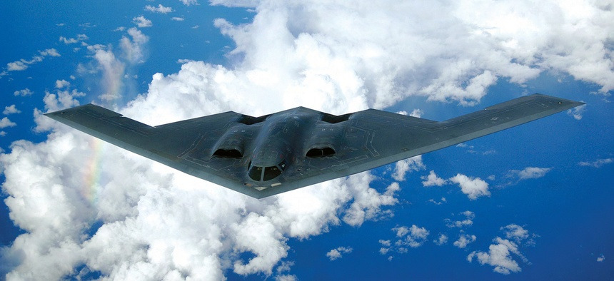The B-2 is a multi-role bomber capable of delivering both conventional and nuclear ammunition.