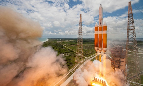 A United Launch Alliance Delta IV-Heavy rocket lifts off from Space Launch Complex 37B at Cape Canaveral Air Force Station, Fla., June 11, 2016.