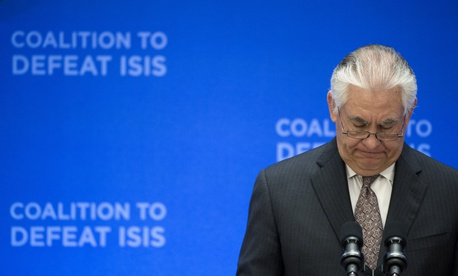 Secretary of State Rex Tillerson pauses while speaking at the Meeting of the Ministers of the Global Coalition on the Defeat of ISIS, Wednesday, March 22, 2017, at the State Department in Washington.