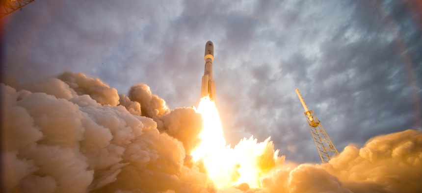 The MUOS next-generation narrowband military satellite communication system lifts off aboard a United Launch Alliance Atlas V rocket from Space Launch Complex-41 on July 9, 2013, at Cape Canaveral Air Force Station, Fla.