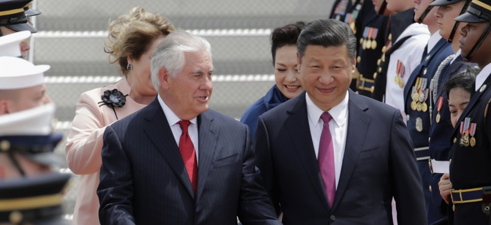 ecretary of State Rex Tillerson, left, walks with Chinese president Xi Jinping at the Palm Beach International Airport in West Palm Beach, Fla., Thursday, April 6, 2017. The president will meet with President Donald Trump for a two-day summit.